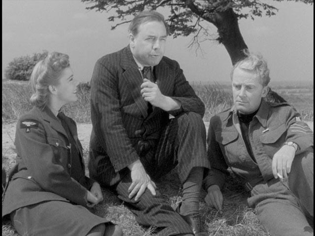 Writer J.B. Priestley pauses on a country walk to conjure the dream of a better future in Basil Dearden's They Came to a City (1944)