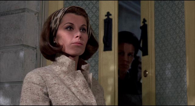 Patricia Carroll (Stephanie Powers) visits the Trefoile house to pay her respects to the matriarch in Silvio Narizzano's Fanatic (1965)
