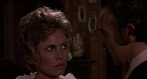 Anne Arthur (Lyn Peters) is creeped out by Prof. Lockwood's interest in John Hayes' Grave of the Vampire (1972)