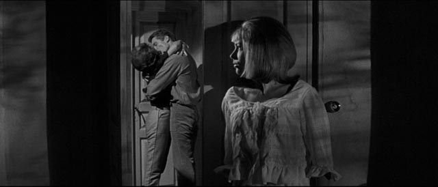 Annette (Liliane Brousse) spies jealously on her stepmother Eve Beynat (Nadia Gray) and Jeff Farrell (Kerwin Matthews) in Michael Carreras' Maniac (1963)
