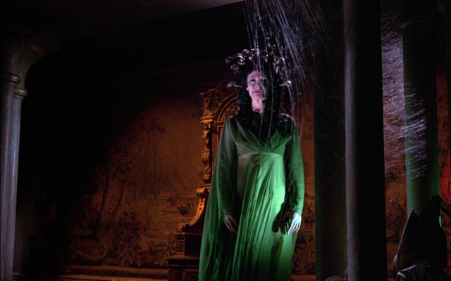 Megaera (Prudence Hyman) haunts the derelict Castle Borski in Terence Fisher's The Gorgon (1964)