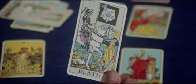 The inevitable death card shows up in a routine Tarot card reading by Harry Erskine (Tony Curtis) in William Girdler's The Manitou (1978)