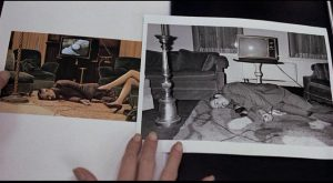 Laura's images uncannily resemble recent crime scene photos in Irvin Kershner's Eyes of Laura Mars (1978)