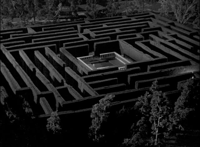 The tabletop miniature labyrinth as seen from the castle windows in William Cameron Menzies' The Maze (1953)