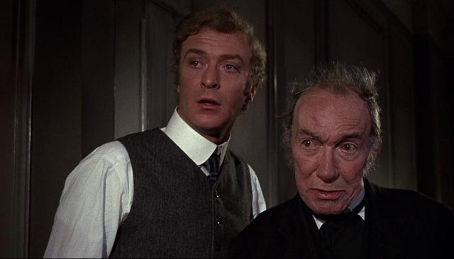 Michael Caine as naive Michael Finsbury and the inimitable Wilfred Lawson as Peacock the Butler in Bryan Forbes' The Wrong Box (1966)
