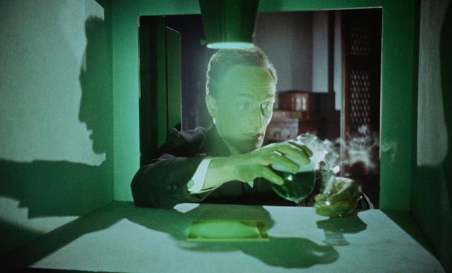Dr. Bonnet (Anton Diffring)'s improbable elixir safe in Terence Fisher's The Man Who Could Cheat Death (1959)