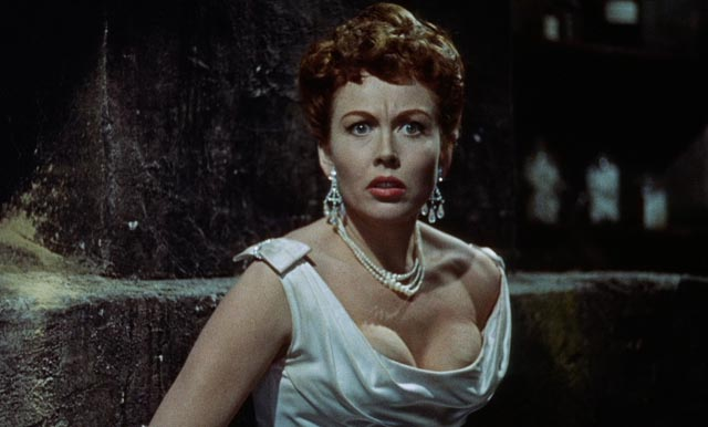 Janine Du Bois (Hazel Court) discovers the awful truth about the man she loves in Terence Fisher's The Man Who Could Cheat Death (1959)