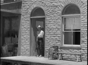 Dave Nash (Joel McCrae) prepares for the final showdown on the town street in Andre de Toth's Ramrod (1947)
