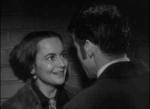 Catherine (Olivia de Havilland) is overjoyed at the prospect of eloping with Morris (Montgomery Clift) in William Wyler's The Heiress (1949)