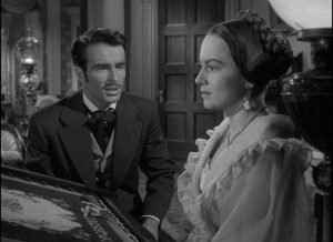 Catherine (Olivia de Havilland) is finally impervious to Morris (Montgomery Clift)'s declarations of lovein William Wyler's The Heiress (1949)