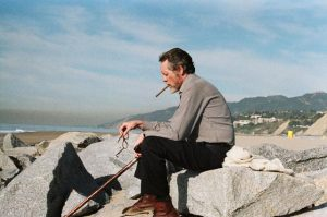 Looking back at his creation: McGoohan giving an interview in California