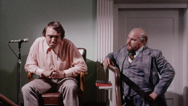 A threadbare courtroom scene in J.G. (Pat) Patterson's The Electric Chair (1975)