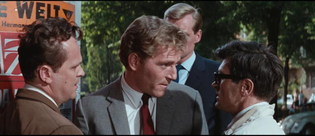 Quiller (George Segal) makes himself very visible in order to draw out the Neo-Nazis in Michael Anderson's The Quiller Memorandum (1966)