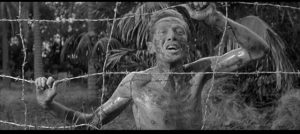 Richard Wordsworth as a British prisoner murdered by the Japanese in Val Guest's The Camp on Blood Island (1958)