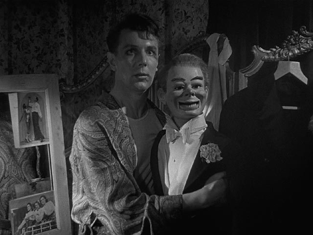 Maxwell Frere (Michael Redgrave) is possessed by his mean-spirited dummy Hugo Fitch in Ealing's Dead of Night (1945)