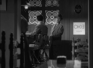 ... but is happy and relaxed having an after-work drink with his protege Non-chan (Koji Tsuruta) in Ozu Yasujiro's The Flavor of Green Tea Over Rice (1952)