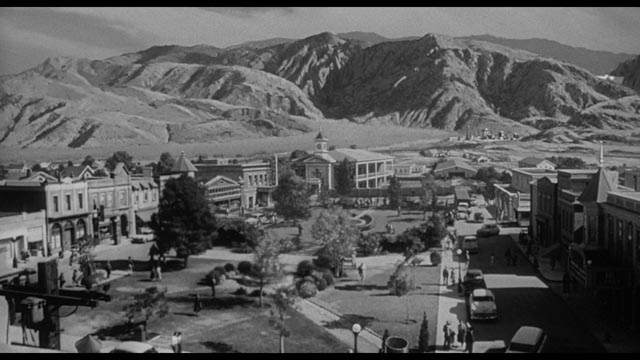 Danger lurks in the hills above a peaceful desert town in John Sherwood's The Monolith Monsters (1957)