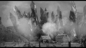 Alien crystals march down canyons towards the town in John Sherwood's The Monolith Monsters (1957)