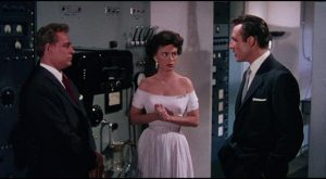 Cal and colleagues Ruth Adams (Faith Domergue) and Steve Carlson (Russell Johnson) are suspicious in Joseph Newman's This Island Earth (1955)