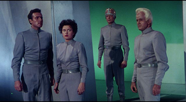 Cal (Rex Reason) and Ruth (Faith Domergue) find themselves on an alien world under attack in Joseph Newman's This Island Earth (1955)