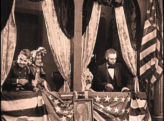 Joseph Henabery as Abe Lincoln moments before the assassination in Ford's Theater in D.W. Griffith's Birth of a Nation (1915)