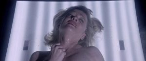Sandy (Judy Geeson) is impregnated by a hostile alien in Norman J. Warren's Inseminoid (1981)