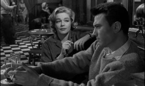 Joe Lampton (Laurence Harvey)'s plans are complicated by real feelings for the unhappily married Alice Aisgill (Simone Signoret) in Jack Clayton's Room at the Top (1959)