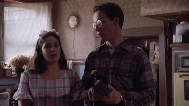 Dennis (Ted Raimi) finds a degree of normalcy with unhappily married Kerry Tate (Ricki Lake) in Ivan Nagy's Skinner (1993)