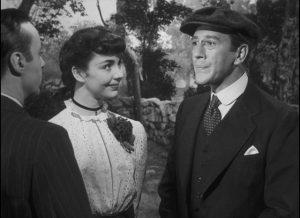 Adam (Charles Boyer) dislikes Cluny (Jennifer Jones)'s choice for a husband, the priggish Jonathan Wilson (Richard Haydn) in Ernst Lubitsch's Cluny Brown (1946)
