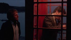 Mac (Peter Riegert)'s only connection with corporate headquarters is the village's single public telephone in Bill Forsyth's Local Hero (1983)