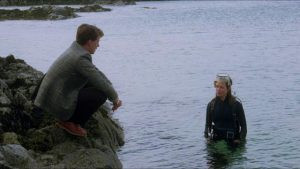 Oldsen is deeply attracted to researcher Marina (Jenny Seagrove) who seems more at home in the water in Bill Forsyth's Local Hero (1983)