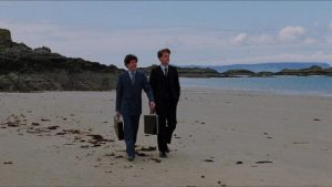 Mac (Peter Riegert) and Oldsen (Peter Capaldi) find privacy in the open space of the beach in Bill Forsyth's Local Hero (1983)