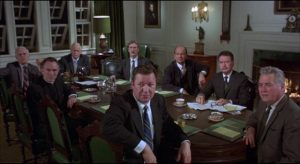 The conservative board think students are an impediment to efficient administration in Stanley Kramer's R.P.M. (1970)