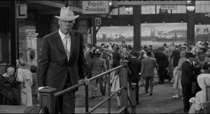 Bill Tenny (Lee Marvin) disembarks in Hamburg at the dawn of the Third Reich in Stanley Kramer's Ship of Fools (1965)
