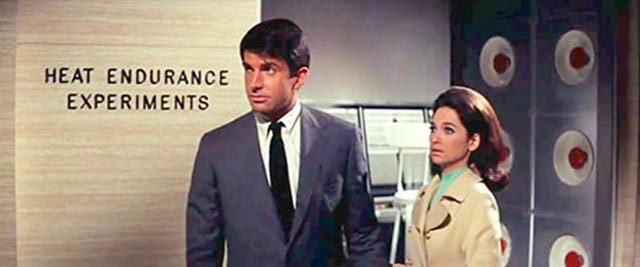 Jim Tanner (George Hamilton) and Margery Lansing (Suzanne Pleshette) realize they're under psychic attack in Byron Haskin's The Power (1968)