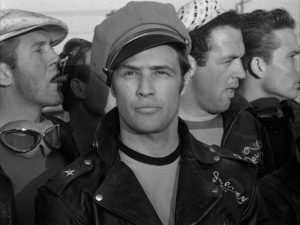 "Johnny Strabler (Marlon Brando) is rebelling against ""whatever you got"" in Laslo Benedek's The Wild One (1954)"