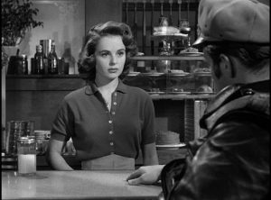 Nice girl Kathie (Mary Murphy) can see through Johnny (Marlon Brando)'s tough guy facade in Laslo Benedek's The Wild One (1954)
