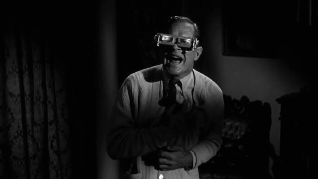 Cyrus Zorba (Donald Woods) is more terrified than the audience in William Castle's 13 Ghosts (1960)
