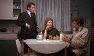 Eddie Ginley (Albert Finney) is antagonistic towards his brother (Frank Finlay) and sister-in-law (Billie Whitelaw) in Stephen Frears' Gumshoe (1971)