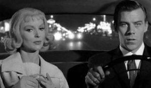 Emily (Joan Marshall) and bellhop Jim Nesbitt (Richard Rush) head for a strange wedding in William Castle's Homicidal (1961)