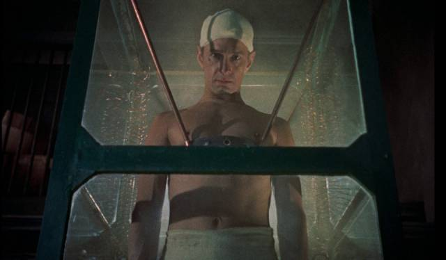 ... at the perfect body (Michael Gwynn) the Baron (Peter Cushing) has fashioned for him in Terence Fisher's The Revenge of Frankenstein (1958)