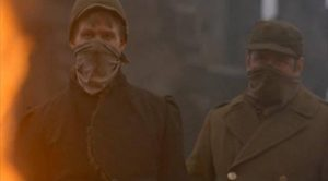 Billy (Michael Sacks) and Edgar (Eugene Roche) are drafted into clean-up efforts after the firebombing of Dresden in George Roy Hill's Slaughterhouse-Five (1972)