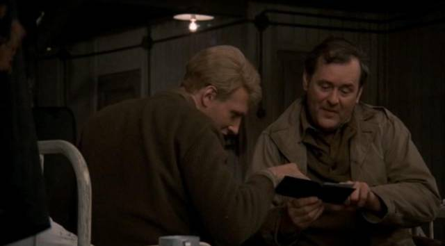 Billy (Michael Sacks) is taken under the protection of fatherly Edgar Derby (Eugene Roche) in George Roy Hill's Slaughterhouse-Five (1972)