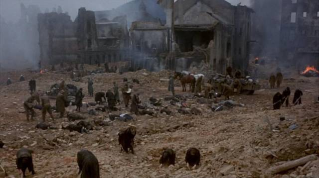The time-shifting story leads to the destruction of Dresden in George Roy Hill's Slaughterhouse-Five (1972)