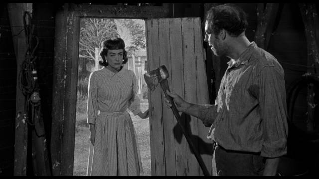 Lucy (Joan Crawford) dislikes handyman Leo (George Kennedy) in William Castle's Strait-Jacket (1964)