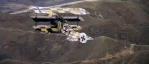 In pursuit of Ernst Kessler (Bo Brundin)'s legendary triplane above the California hills in George Roy Hill's The Great Waldo Pepper (1975)