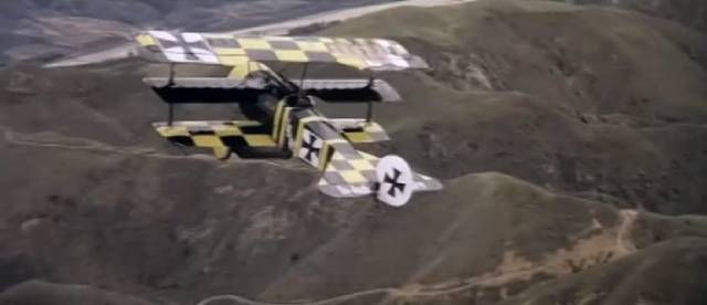 In pursuit of Ernst Kessler (Bo Brundin)'s legendary triplane above the California hills in George Roy Hill's The Great Waldo Pepper (1975)