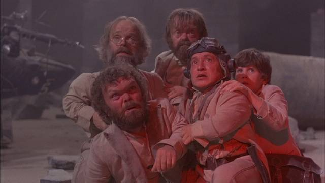 Kevin (Craig Warnock) and his felonious friends in Terry Gilliam's Time Bandits (1981)