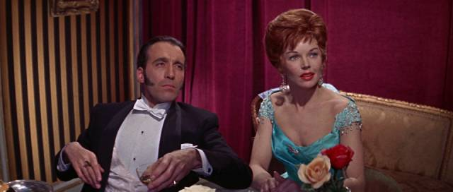 Paul Allen (Christopher Lee) and Kitty Jekyll (Dawn Addams) enjoy London's night life in Terence Fisher's The Two Faces of Dr. Jekyll (1960)