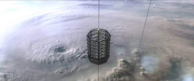 The space elevator carries passengers and cargo to the transport ship Aniara in Pella Kågerman and Hugo Lilja's Aniara (2018)